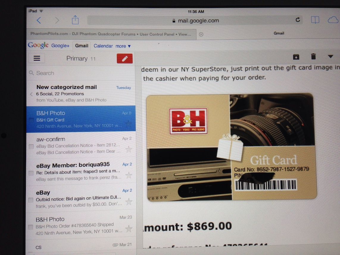 BH Photo Giftcard with $869..Selling for $669!! | DJI Phantom ...