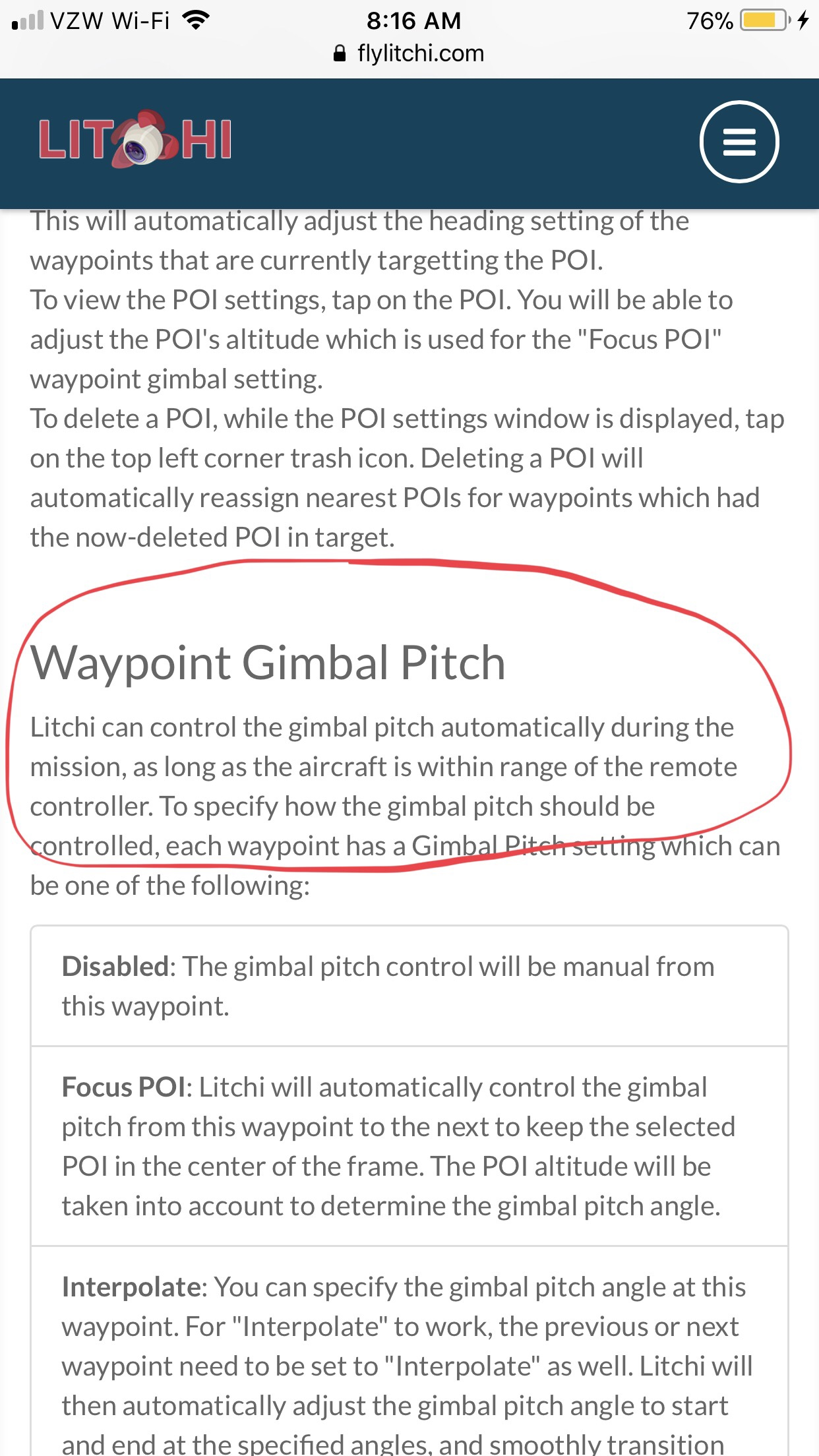 Standard - litchi waypoint gimbal pitch after connection