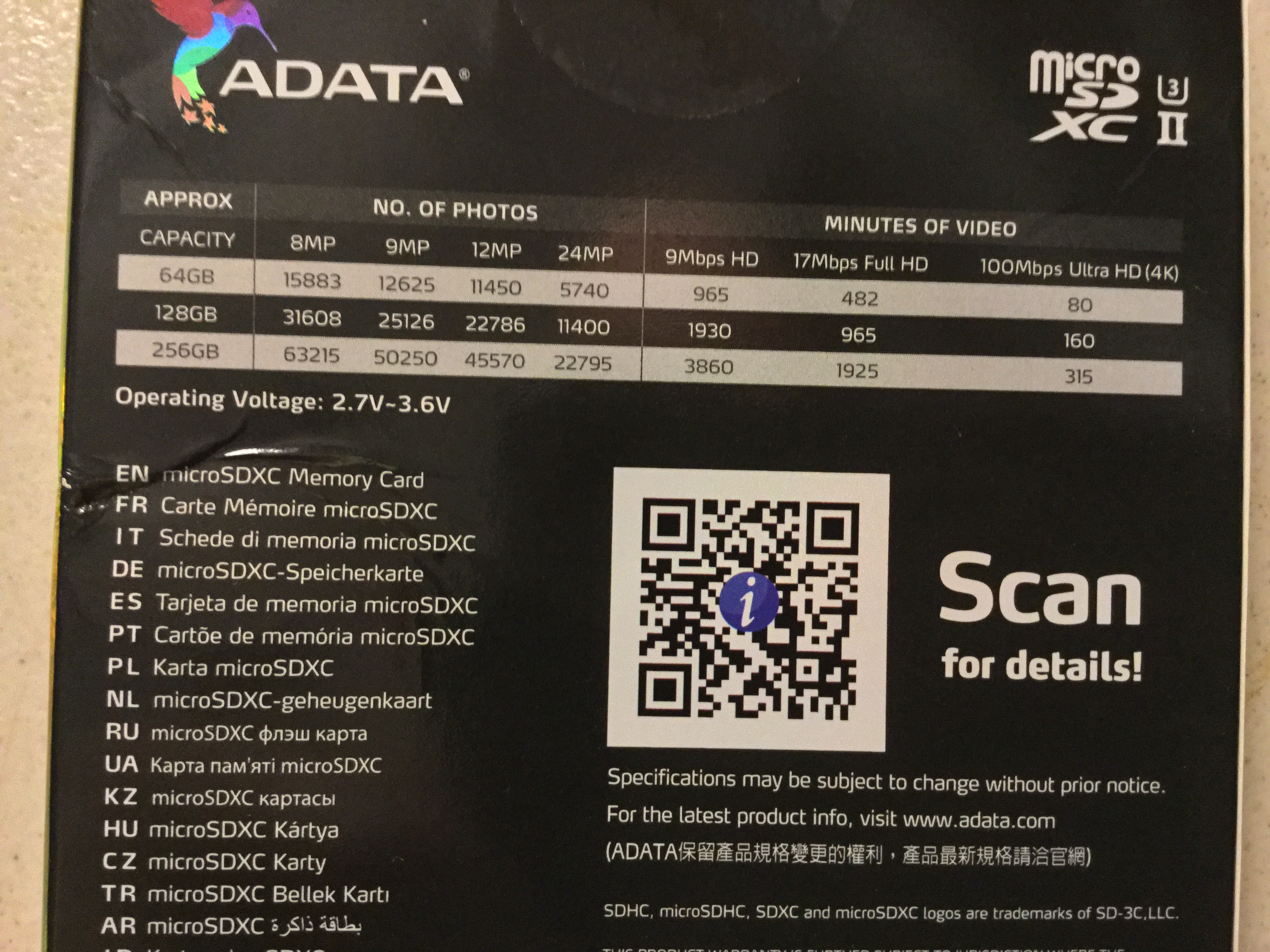 SUPER FAST Micro SD card  Check out the specs photo  !!   DJI