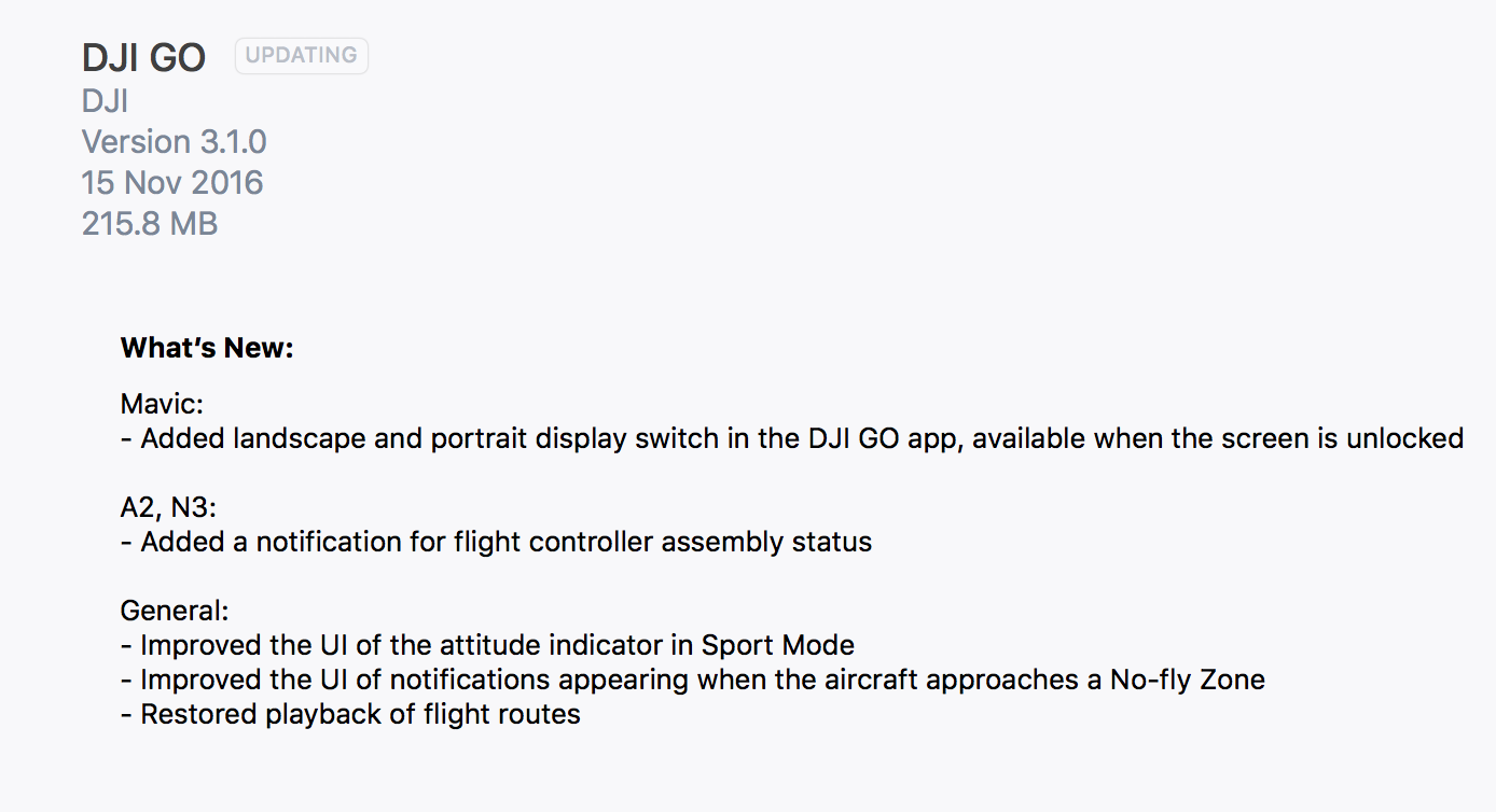 DJI GO iOS update 3 1 0 | DJI Phantom Drone Forum
