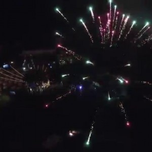 Flying into fireworks