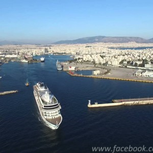 Viking Sea leaving Piraeus port aerial view - Αναχώρηση Viking Sea - YouTube