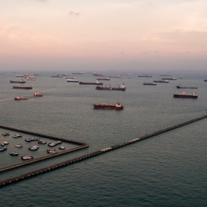 Anchored Ships off Singapore
