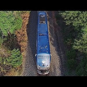 Aerial Views of The Amtrak #79 Carolinian & Piedmont #76 in Motion