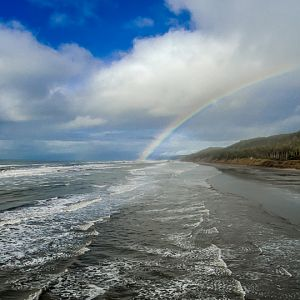 Olympic Peninsula, Washington State. Saw the rainbow as we were driving down the highway