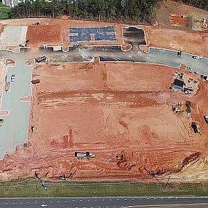 Aerial View of New Apartment Complex Construction