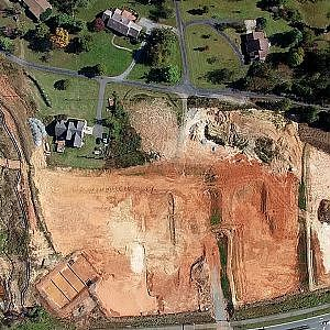 Aerial View of Sheetz & Retail Construction at University Dr. & S. Church St - Burlington, NC