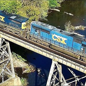 Flight with the CSX Freighter on the Appomattox River Trestle