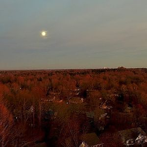 Aerial Moonrise View at Sunset - Time Lapse