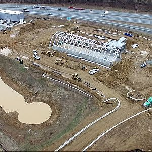 Aerial View of Red Oak Brewery - Beer Hall & Packaging Facility Construction Update - Whitsett, NC