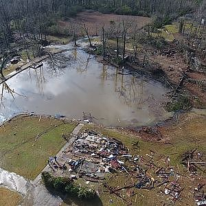 Tornado Damage Hattiesburg,MS 1/21/17