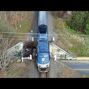 Above Railroad Ave with Amtrak #80 Carolinian - Gibsonville, NC