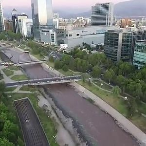 Phantom 3 Advanced aerial view at Costanera center in Santiago, Chile