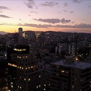Sunset in Santiago Chile the richest city in south America (Aerial view)
