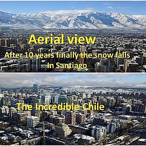 Never seen before aerial view of Nieve (Snow) in Santiago, Chile