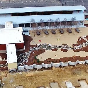 Aerial Views of the New Lager Haus and Biergarten at Red Oak Brewery - Whitsett, NC