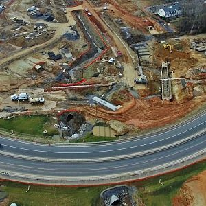 Aerial Views of Lawndale Dr. & Cotswold Ave. Intersection Construction - Greensboro, NC