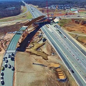 Aerial View of I-785/I-840 Northeastern Urban Loop Interchange Construction - Greensboro, NC