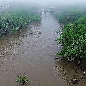 Foggy Morning Flight Over Rain Swollen Haw River - Alamance County, NC