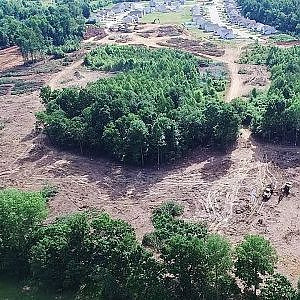 Aerial Views of Clearing in Progress at Joseph's Claim Subdivision - Gibsonville, NC