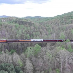 611 Steam Engine Smith Mountain Lake tressel Drone footage
