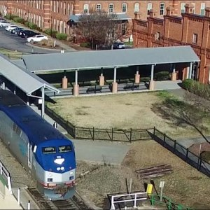 Aerial Views of Amtrak #80 Carolinian Arriving & Departing - Durham, NC