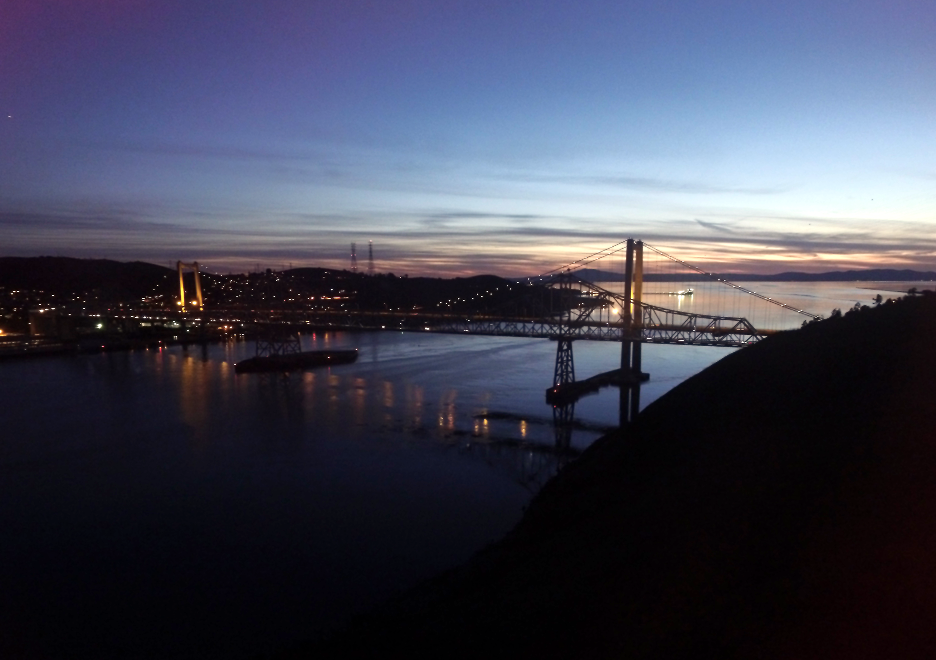 Carquinez Bridge over the Sacramento River, just after sunset.